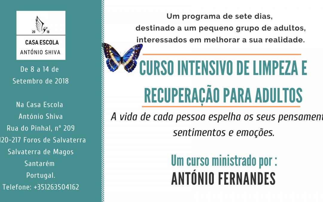 Curso intensivo de limpeza e recuperação – 8 a 14 Setembro de 2018