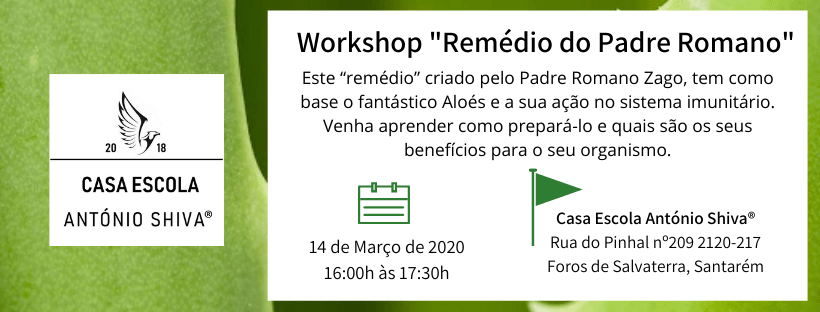 "Workshop ""Remédio do Padre Romano"""